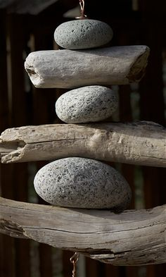 Detail image, Natural Pacific driftwood, beach stone, copper wind chime: Coast Chimes