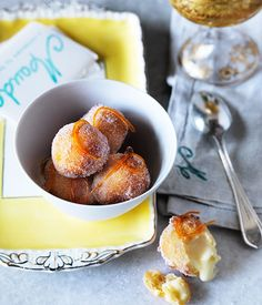 Ricotta fritters with lime curd and candied grapefruit recipe