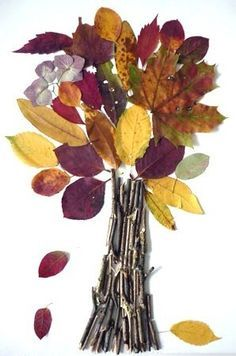 #FallTreeCraft idea for kids: Paste #FallLeaves and twigs onto paper to create a tree masterpiece. #TreeArt