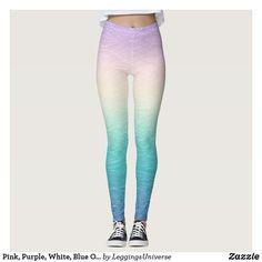 Pink, Purple, White, Blue Ombre Leggings Ombre Leggings, Mermaid Leggings, Purple Blue Ombre, Gothic Leggings, Leggings Fashion, Dressmaking, Colorful Leggings, Looks Great, Sweatpants