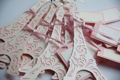 Very Parisian Place Tags from Very Inviting! Perfect for your Midnight in Paris themed wedding!