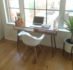 Bamboo Mid Century Desk with Drawer Solid Wood by OrWaDesigns