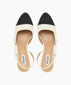 Featuring stylish cut-out panels, a slingback strap and almond toe. It has a contrast toe and sits on a classic block heel for added height. Black Toe, Slingback Pump, Wide Feet, Toe Shape, Pumps Heels, Block Heels, Ivory, Footwear