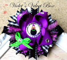 Halloween Hair Bow Halloween Witch Bow Boutique Hair Bow Witch by Violet's Velvet Box-. $8.50, via Etsy.