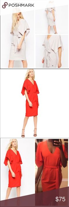 Asos Red Kimono Angel Dress ASOS Angel Kimono Sleeve Belted Midi Dress  -v neckline -pleated waist -belt included -fiery red -wiggle room -flared sleeves -midi length worn once for a wedding. Good choice for parties, cocktails, galas etc. also great for those christmas holiday parties! If you love these brands: 🌸 zara 🌸 asos 🌸 free people 🌸 reformation 🌸 for love and lemons 🌸 self portrait 🌸 anthropologie You will love this! 😍 ASOS Dresses