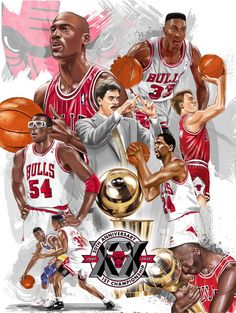 "This an 18"" x 24"" poster created for the Chicago Bulls to commemorate the 20 year anniversary of their first championship. It was featured as a promotion for Supercuts - one of the team's sponsors...."