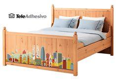 Vinilo Skyline Barcelona para cama #makea #ikea #paris #cama #barcelona #bcn #decoracion #vinilo #ideas #TeleAdhesivo Cama Ikea, Skyline, Barcelona, Toddler Bed, Paris, Baby, Furniture, Home Decor, Bed Feet
