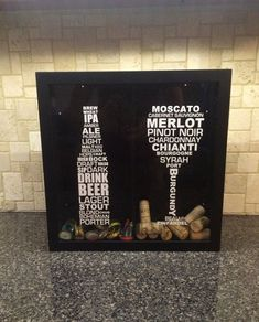 """Beer Bottle and Wine Glass Typography - Glass Beer Cap and Wine Cork Holder - Shadow Box (12"""" x 12"""") -Vinyl Decal Gift, Home Bar Accessories"""