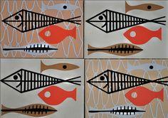 mid-century modern fish tiles
