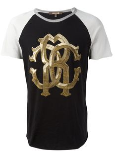 ROBERTO CAVALLI two-tone metallic monogram logo T-shirt. #robertocavalli #cloth #t-shirt