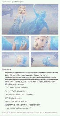"Do you want to build a snowman reprise Frozen. (look on ""Turner's Frozen Board"" if you wanna hear the song! Disney Love, Disney Magic, Disney Frozen, Disney Stuff, Elsa Frozen, Disney And Dreamworks, Disney Pixar, Walt Disney, Manga Anime"
