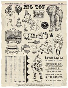 vintage circus rubber stamp collection