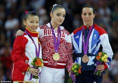 Top three: Great Britain's Beth Tweddle (right) wins bronze with Russia's Aliya Mustafina gold (centre) and China's He Kexin silver in the uneven bars.   Beth Tweddle is Britain's most successful gymnast with three world, six European, seven British and now an Olympic medal to her name.