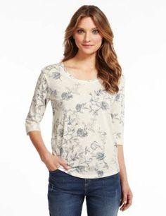 Indigo Collection Pure Cotton Sketchy Bird Print T-Shirt-Marks & Spencer