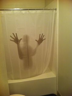 small scary shower curtain Scary shower curtain