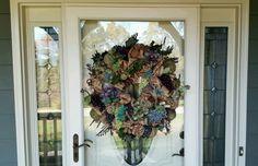 Burlap Wine and Cork Wreath on my customer's door!