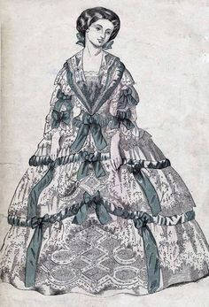 Dress with green ribbons (1858)