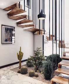 Minimal Interior Design Inspiration 180 UltraLinx floating stairs with living desert plants Interior Garden, Diy Interior, Interior Exterior, Interior Architecture, Interior Decorating, Staircase Architecture, Architecture Sketches, Tropical Interior, Decorating Ideas