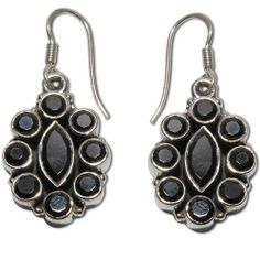 Amazon.com: Fashion Jewelry Black Onyx Sterling Silver Earrings Gifts for Her 1.5 Inches: ShalinCraft: Jewelry