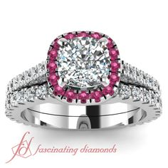Luminous Halo Set    Cushion Cut Diamond Wedding Set With Pink Sapphire In 14K White Gold