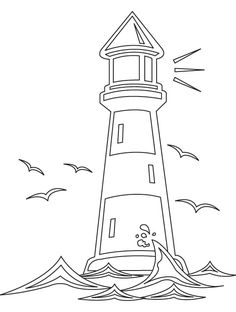 lighthouse worksheets printable | Light house coloring page