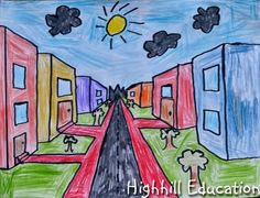 City-Scape One-Point Perspective for Kids