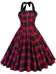 "Universe of goods - Buy ""Women Red Plaid Summer Vintage Sexy Short Dress Rockabilly Lace-Up Halter Zipper Ball Gown Party Street Lady Retro Mini Dresses"" for only USD. Vintage Red Dress, Robes Vintage, Vintage Rock, Retro Dress, Fancy Dress, Rock Chic, Rock Style, Glam Rock, Edgy Outfits"