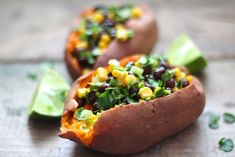 Sweet Potatoes Stuffed with Chipotle Black Bean & Corn Salad