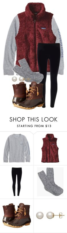 """""""Patagonia vests or pullovers?? your answer in comments"""" by parker3202 ❤️ liked on Polyvore featuring Patagonia, J.Crew, Sperry and Honora"""