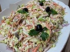 """Salad """"Anastasia"""" Ingredients: Boiled ham - 300 g Chicken (breast boiled) - 1 piece Cabbage (small kochanchiki) - 1 piece Carrots in Korean - 200 Fish Recipes, Beef Recipes, Salad Recipes, Chicken Recipes, Cooking Recipes, Top Salad Recipe, Good Food, Yummy Food, Fish Salad"""