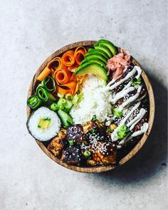 "8,268 Likes, 129 Comments - SAM (@sobeautifullyreal) on Instagram: ""Colour me up!  Sticky Rice, Black Sesame, Pickled Ginger & Carrot ribbons, Cashew & Siracha…"""