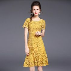 ==> [Free Shipping] Buy Best 2017 New Summer Lace Dress Women Clothing Casual Brand European American Style Ruffles Dress Femme Work Office Dress Girls Cheap Online with LOWEST Price | 32806365275