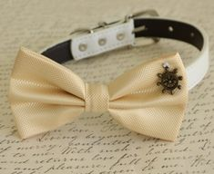 Champagne Dog Bow tie collar Dog birthday gift Beach wedding