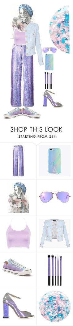 """""""#Cravingcolour @angelstylee"""" by katymill ❤ liked on Polyvore featuring Ashish, UPROSA, Gucci, Ray-Ban, WithChic, Balmain, Converse, Camilla Elphick and Nails Inc."""