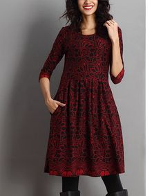 Look at this #zulilyfind! Red Floral Three-Quarter Sleeve Fit & Flare Dress #zulilyfinds