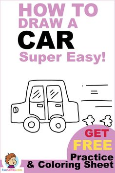 Cartoon Drawings Step by Step drawing for how to draw a car! This is a super easy tutorial. Free printables available! Easy Drawing Steps, Step By Step Drawing, Drawing Tips, Drawing Ideas, Drawing Techniques, Learn Drawing, Sketching Tips, Wall Drawing, Figure Drawing