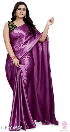 Women's Satin Solid Saree with Jacquard Blouse Piece Silk Satin Dress, Satin Saree, Satin Dresses, Flapper Dresses, Satin Skirt, Drape Sarees, Silk Sarees, Plus Size Mini Dresses, Ball Gowns Evening