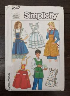 Vtg Simplicity Bib Apron Pattern 7647 Frilly Kitchen Old-Fashioned  Uncut #Simplicity