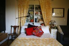 Smart Storage Lessons: 10 Ideas from Small Spaces I like the idea of the library hidden by curtains in the headboard.