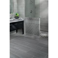 Eramosa Silver Porcelain Tile - 12 x 24 - 912102741 Bathroom Floor Tiles, Shower Floor, Bathroom Renos, Grey Bathrooms, Master Bathroom, Tile Floor, Stone Look Tile, Style Tile, Floor Decor