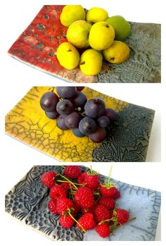 Flache Raku-Schalen Gelb, Rot und Blau