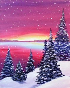 Snowy Sunrise painting, pink sky and snow covered trees beginner canvas painting. - Snowy Sunrise painting, pink sky and snow covered trees beginner canvas painting. Winter Painting, Winter Art, Diy Painting, Painting Canvas, Beginner Painting, Cozy Winter, Kids Canvas Art, Diy Canvas, Canvas Tent