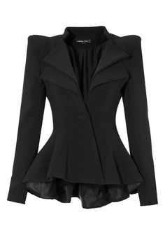Look like a celebrity by wearing this black double lapel fit and flare blazer!