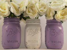 Painted Mason Jars Shabby Chic Mason Jars by lilpumpkincrafts, $17.25
