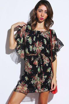 #1015store.com #fashion #style pink floral print black chiffon flutter sleeve sash tie party mini dress-$15.00 Dresses For Less, Short Dresses, Affordable Dresses, Pink Mini Dresses, Short Mini Dress, Pink Ladies, Chiffon, Clothes For Women, Flutter Sleeve
