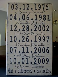 Fathers Day or Anniversary Idea - Important Dates Wood Sign Anniversary Gift Family Dates What a Difference a Day Makes Important Date Art. Diy Wood Signs, Custom Wood Signs, Wood Crafts, Diy Crafts, Important Dates, Crafty Craft, Gifts For Family, Anniversary Gifts, Wedding Anniversary