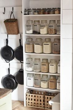 Hanging pans in the pantry. Hanging pans in the pantry. Hanging pans in the pantry. Hanging pans in Farm Kitchen Ideas, Farmhouse Kitchen Decor, Decorating Kitchen, Home Decor Kitchen, Kitchen Stuff, Farmhouse Shelving, Black Kitchen Decor, Rustic Country Kitchens, Kitchen Items