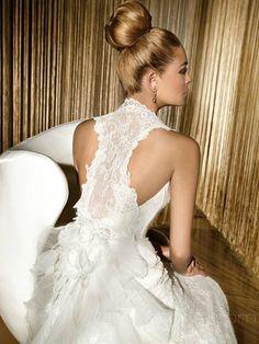 A-Line V-neck Long Organza Wedding Dress