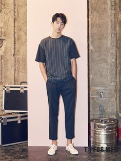 Nam Joo Hyuk was chosen as the model for T. For Men, showing pieces of their 2017 S& Collection. Korean Fashion Men, Korea Fashion, Korean Men, Japan Fashion, Korean Actors, Kimchi, Korean Summer Outfits, Jong Hyuk, Nam Joohyuk