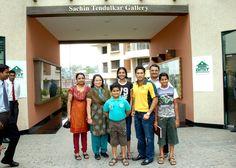 Sachin Tendulkar visits the Cricket Gallery at Bloomfield.